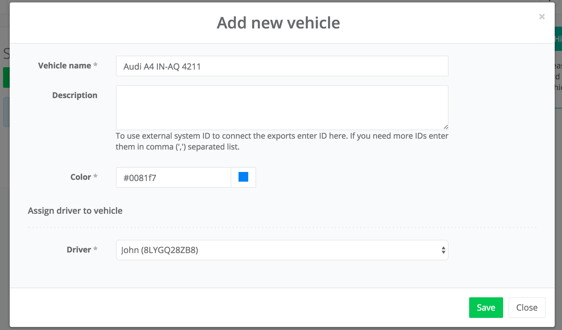 add vehicle form