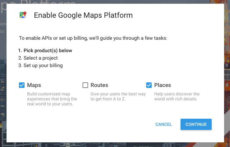 Enable Google Maps Platform - MyCarTracks