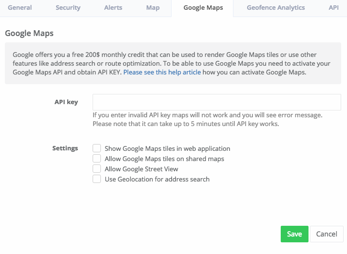 Enter Google Maps API Key - MyCarTracks