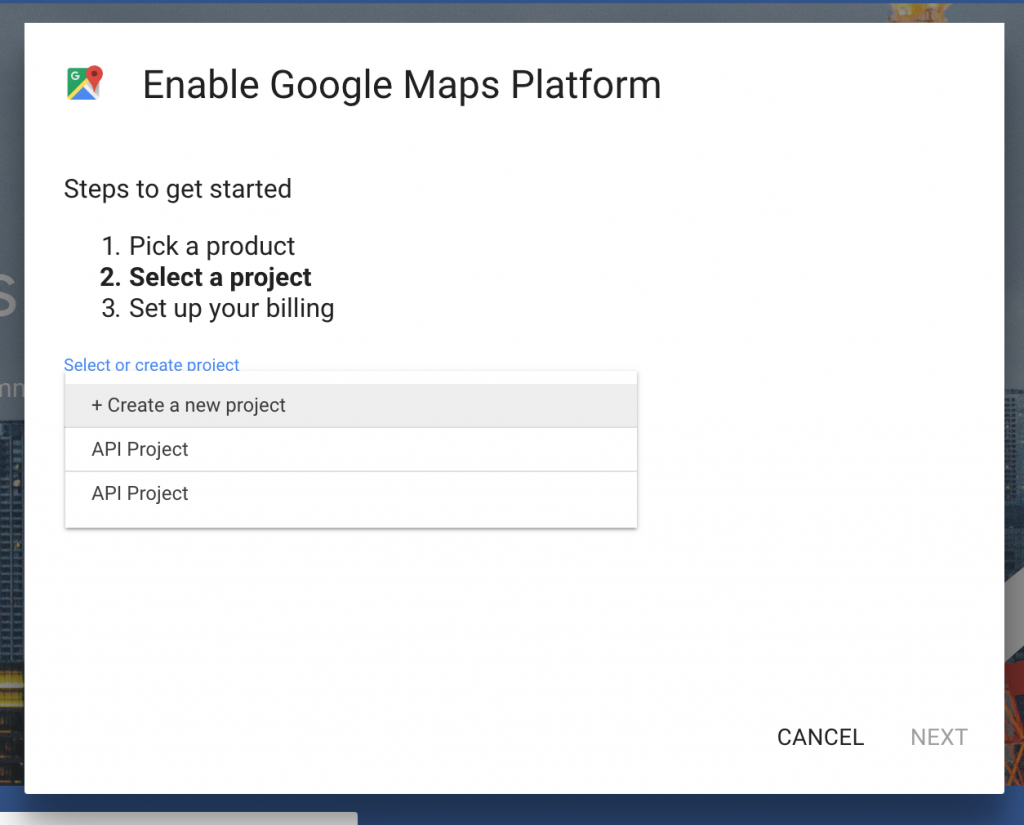 Google Maps Platform project name - MyCarTracks