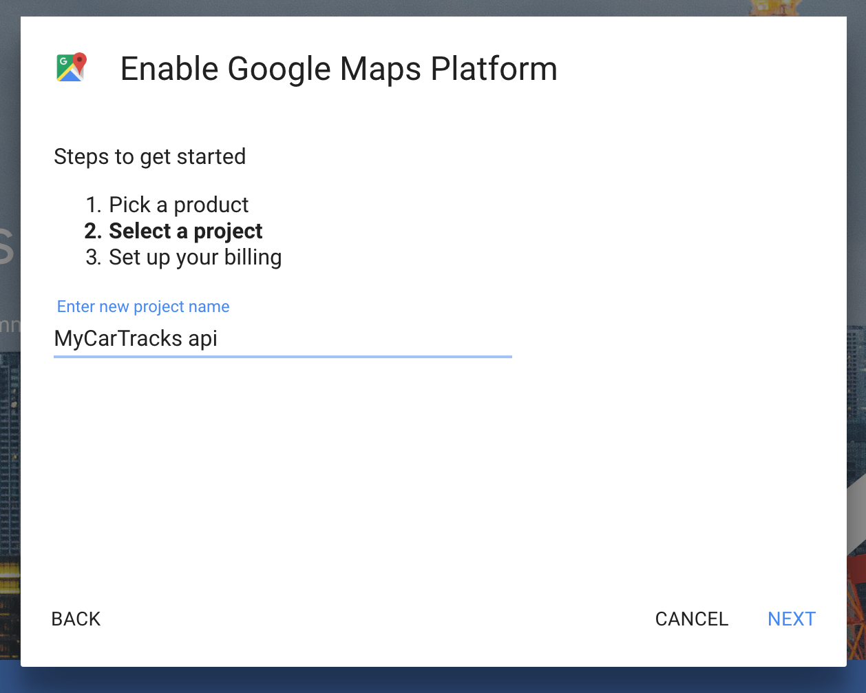 Google Maps enter project name - MyCarTracks