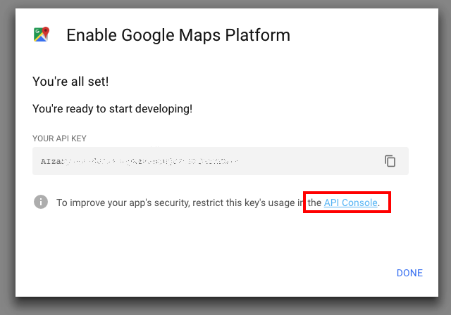 Google Maps API Key - MyCarTracks