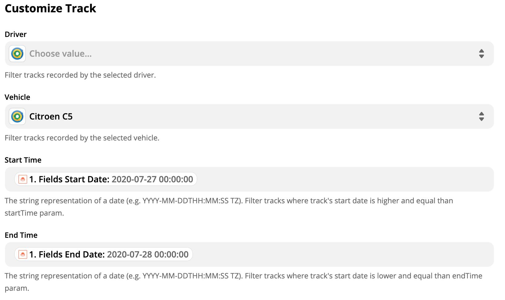 Customize Track Filter setup
