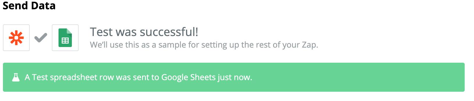Google Sheets data successfully sent
