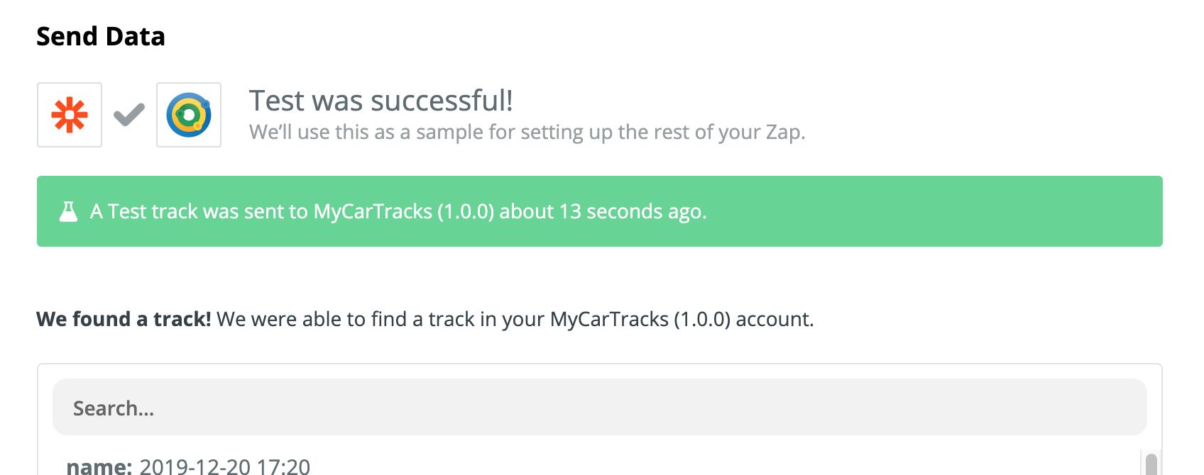 MyCarTracks Zap get tracks success